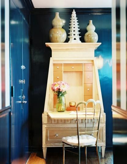 Secretary and Strie Lacquer Hallway Kemble Interiors Blue Walls and ...