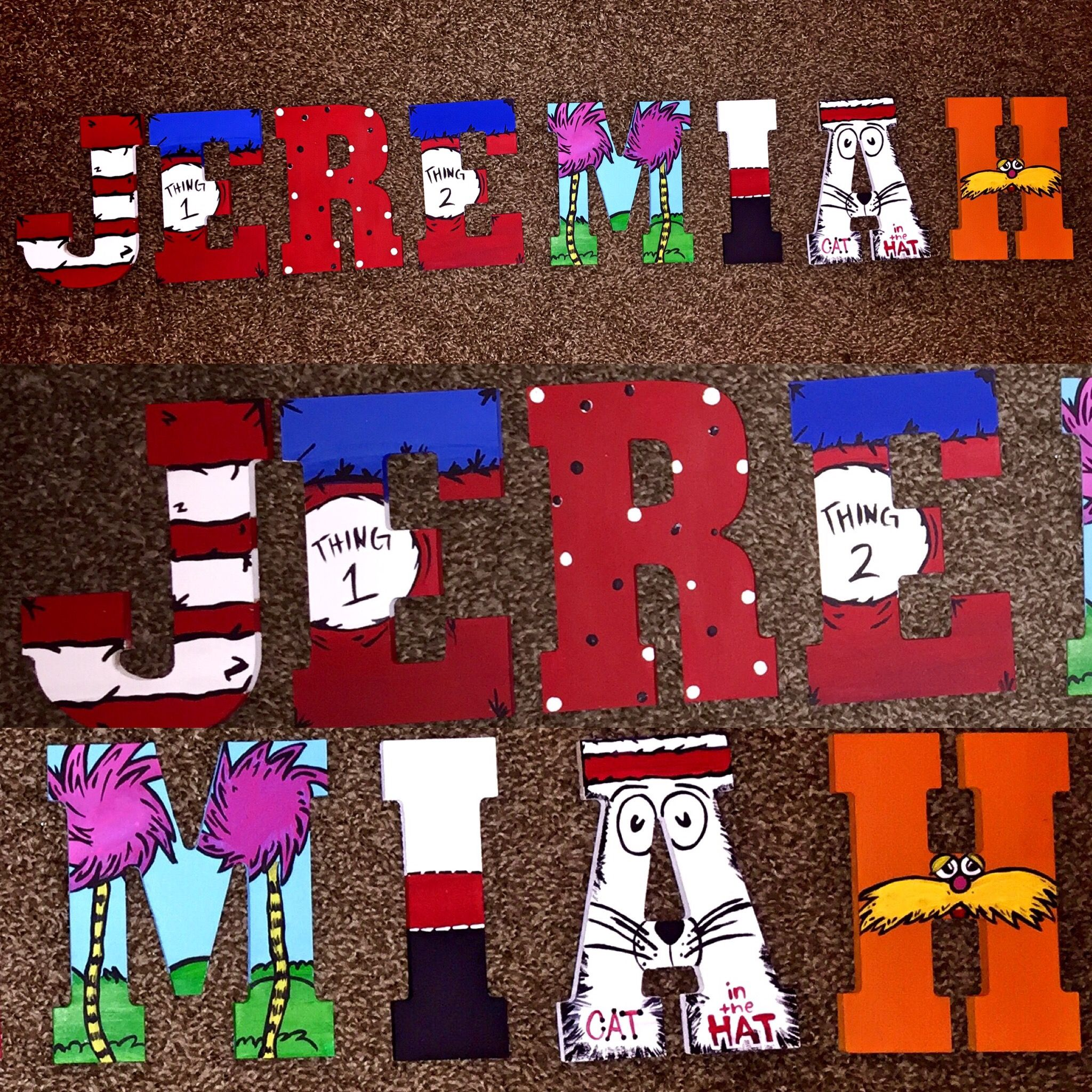 Dr Seuss Character Hand Painted Wooden Letters S