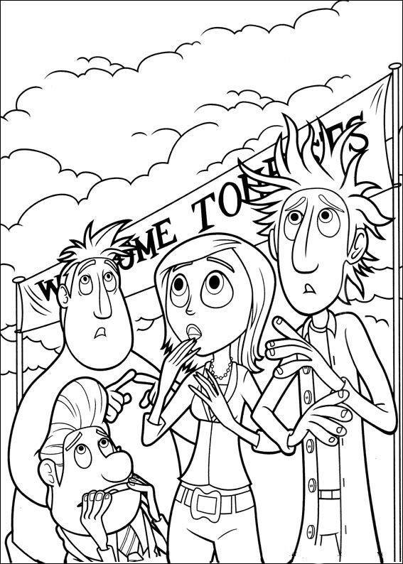 12++ Cloudy with a chance of meatballs coloring page download HD