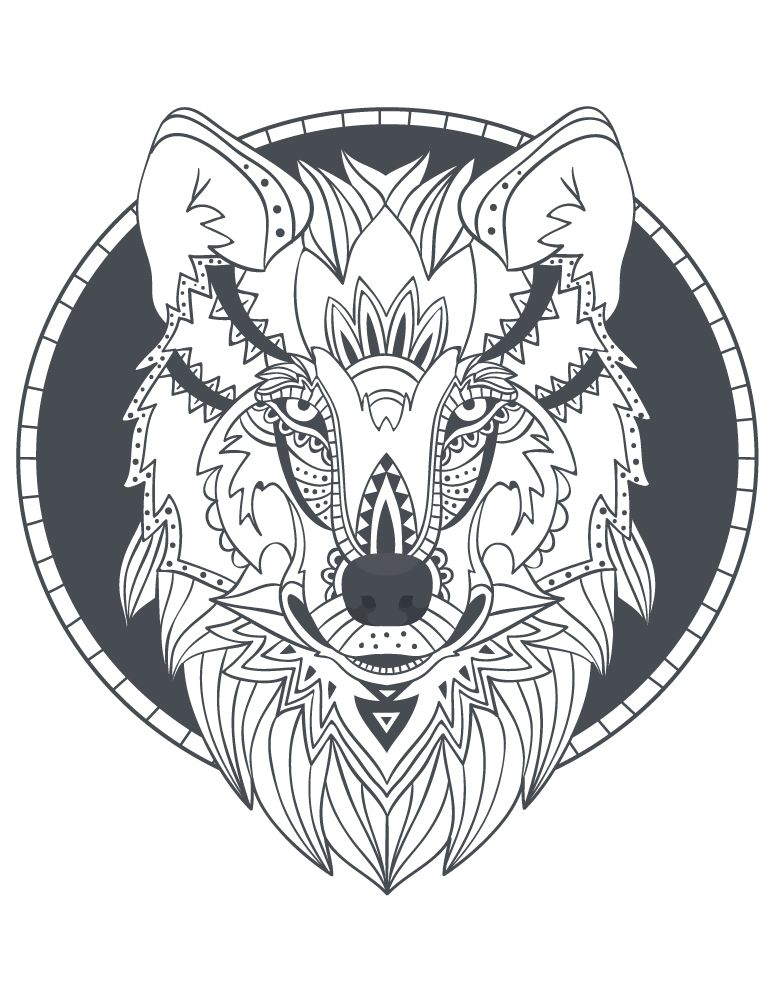 Totem loup imprimer des coloriages parfait tattoo wolf adult coloring pages animal coloring - Coloriage loup ...