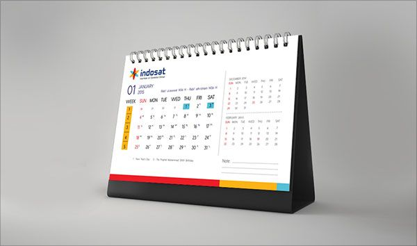 Elegant Desk Calendar Design : Indosat company calendar design unique