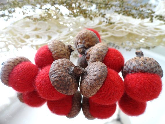 7 Red CASHMERE ACORNS upcycled retired by CustomWarmWoolies, $11.00