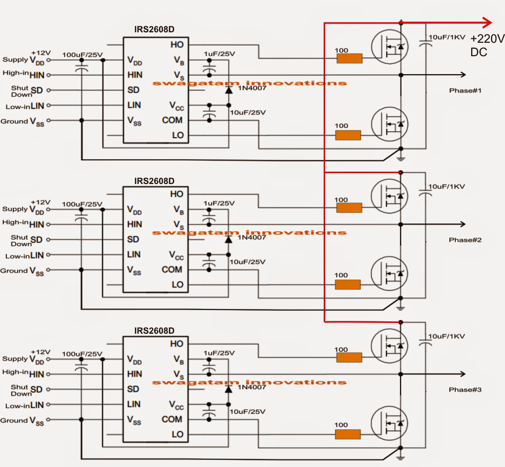 solar 3 phase inverter detailed working explanation and circuit diagram homemade circuit projects [ 1015 x 939 Pixel ]
