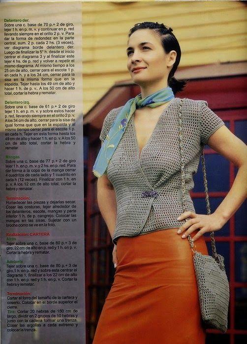 Blusa cruzada y cartera al crochet - explicación en español ...