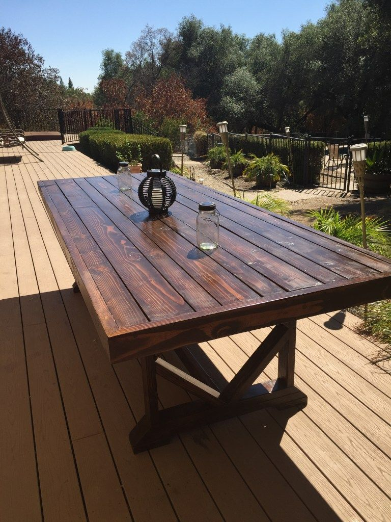 DIY Large Outdoor Dining Table | Outdoor dining, Backyard ...