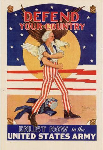 US Propaganda: Propaganda in the US, wasn't just about what's happening in the homeland, it was 50% about getting men interested in joining the war. In this Propaganda poster you see a very patriotic looking man, and in Bold patriotic letters is the word DEFEND.