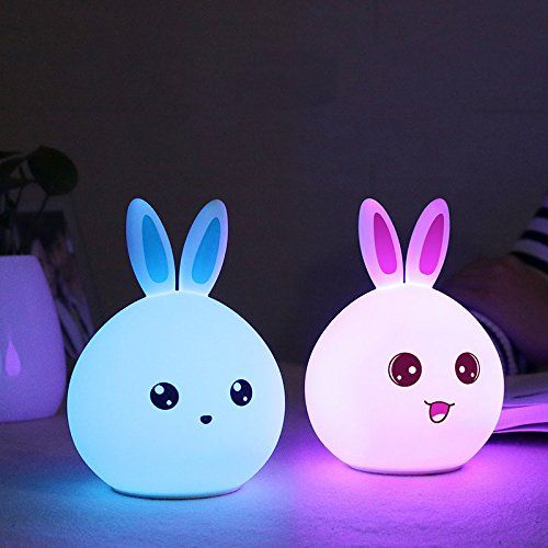 3 Modes Portable Silicone Led Rabbit Night Light Lamp Tap Control Usb Rechargeable For Baby Kids Children Girlfriend Cute Night Lights Bedside Lamp Kawaii Room
