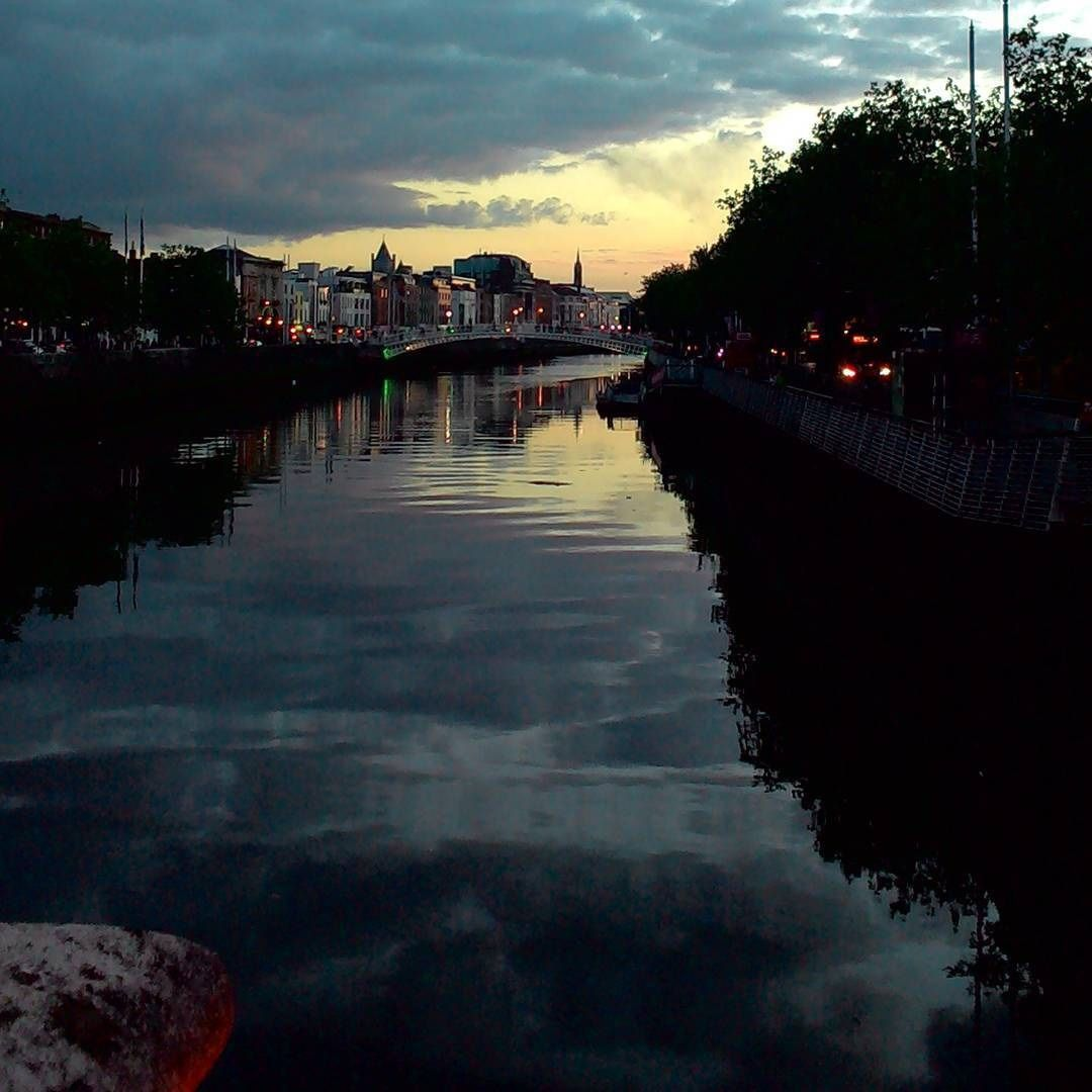 Sunset on River Liffey in Dublin