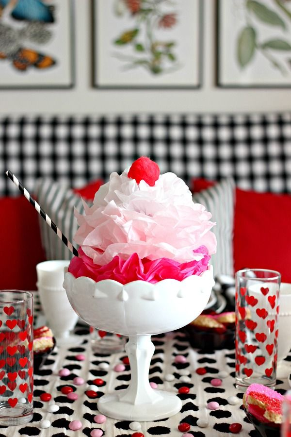 Tissue Ice Cream Sundae 14 Inch 1950s Sock Hop Diner Ice Cream Parlor Party