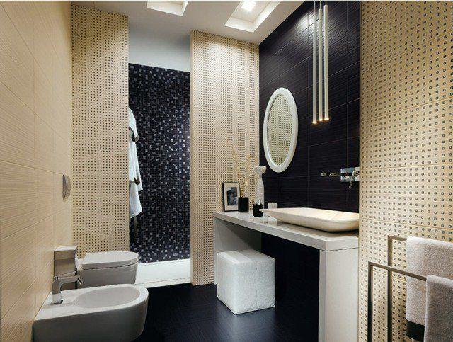carrelage de salle de bains original ? 90 photos inspirantes ... - Salle De Bain Noir Et Beige