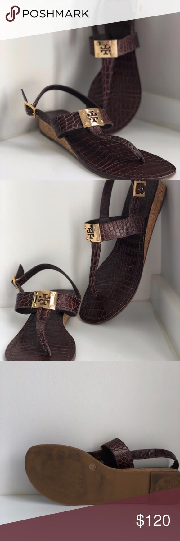 f8de811e1dff82 Tory Burch Leather Croc T-Strap Sandal Authentic Tory Burch brown leather  Croc-embossed
