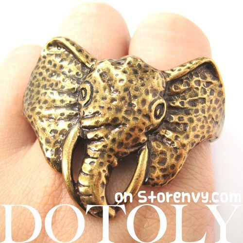 Realistic Unique Elephant Animal Double Duo Finger Ring in Bronze $10 #elephant #animals #jewelry #ring