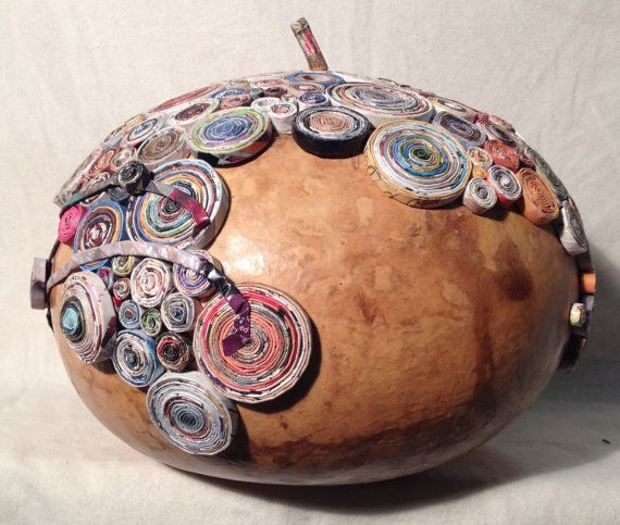 SPERICUM BOX  gourd with paper coils by Artesa on Etsy