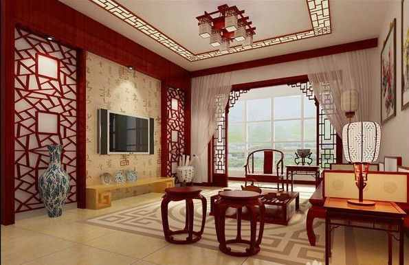 Chinese Theme Living Room. Traditional Furniture