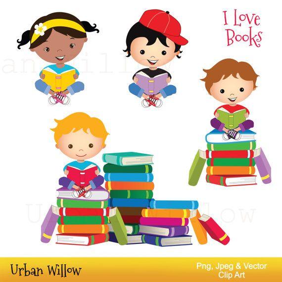 Clip Art Ninos Leyendo Libros Chico De La Escuela De Etsy In 2021 Clip Art School Kids Kids Clipart Kids Reading Books