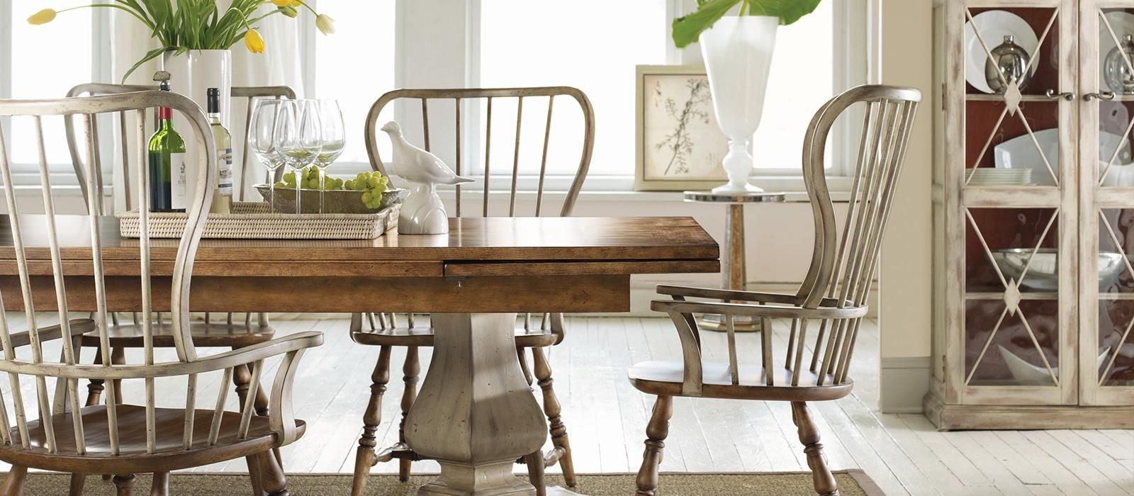 Farmhouse style with fresh bursts of cornflower and blue