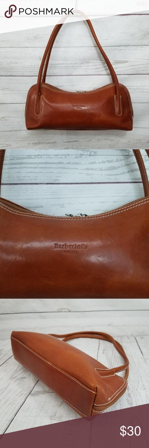 0111cd067d88 Barberini s Firenze Brown Leather SmaShoulder B Vintage Barberini s Firenze  Brown Leather Small Shoulder Bag Handbag Purse
