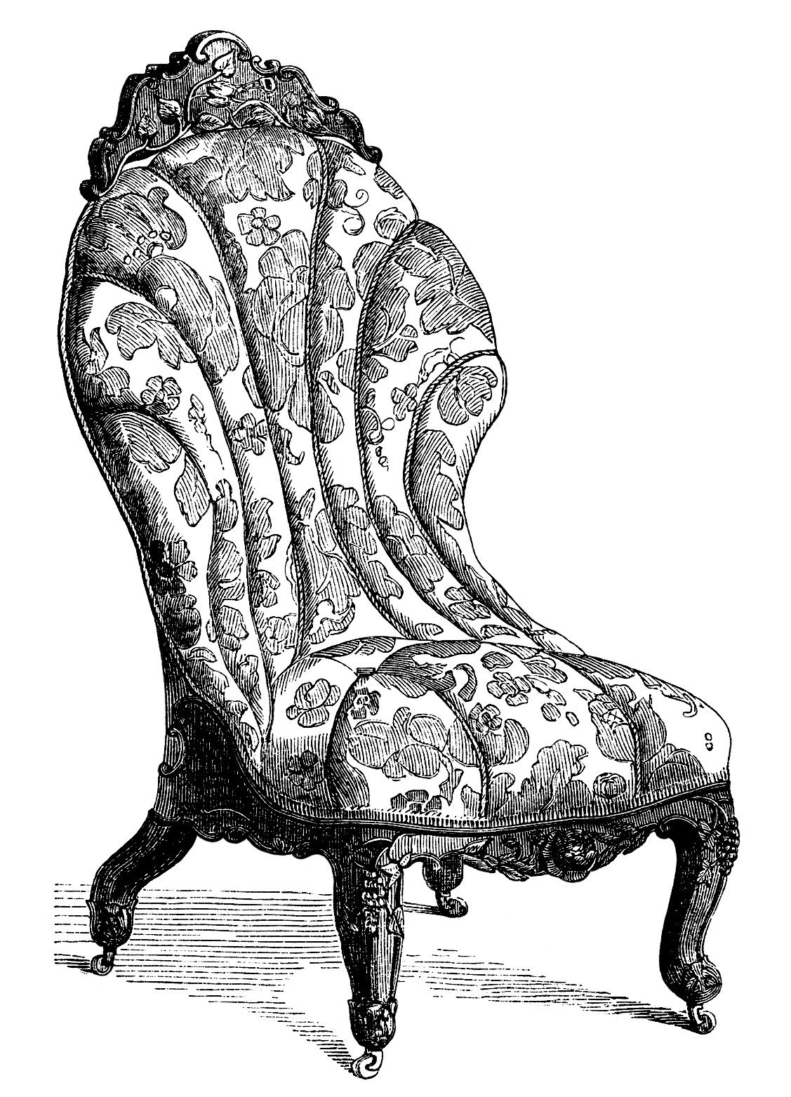 Black and white chair drawing - Victorian Furniture Clip Art Vintage Couch Set Living Room Sofa Engraving Antique Chair