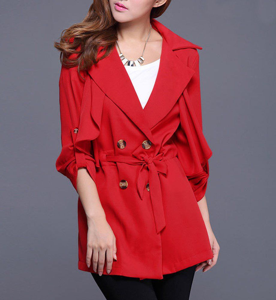 Dfanni red fringed batwing knitted cape