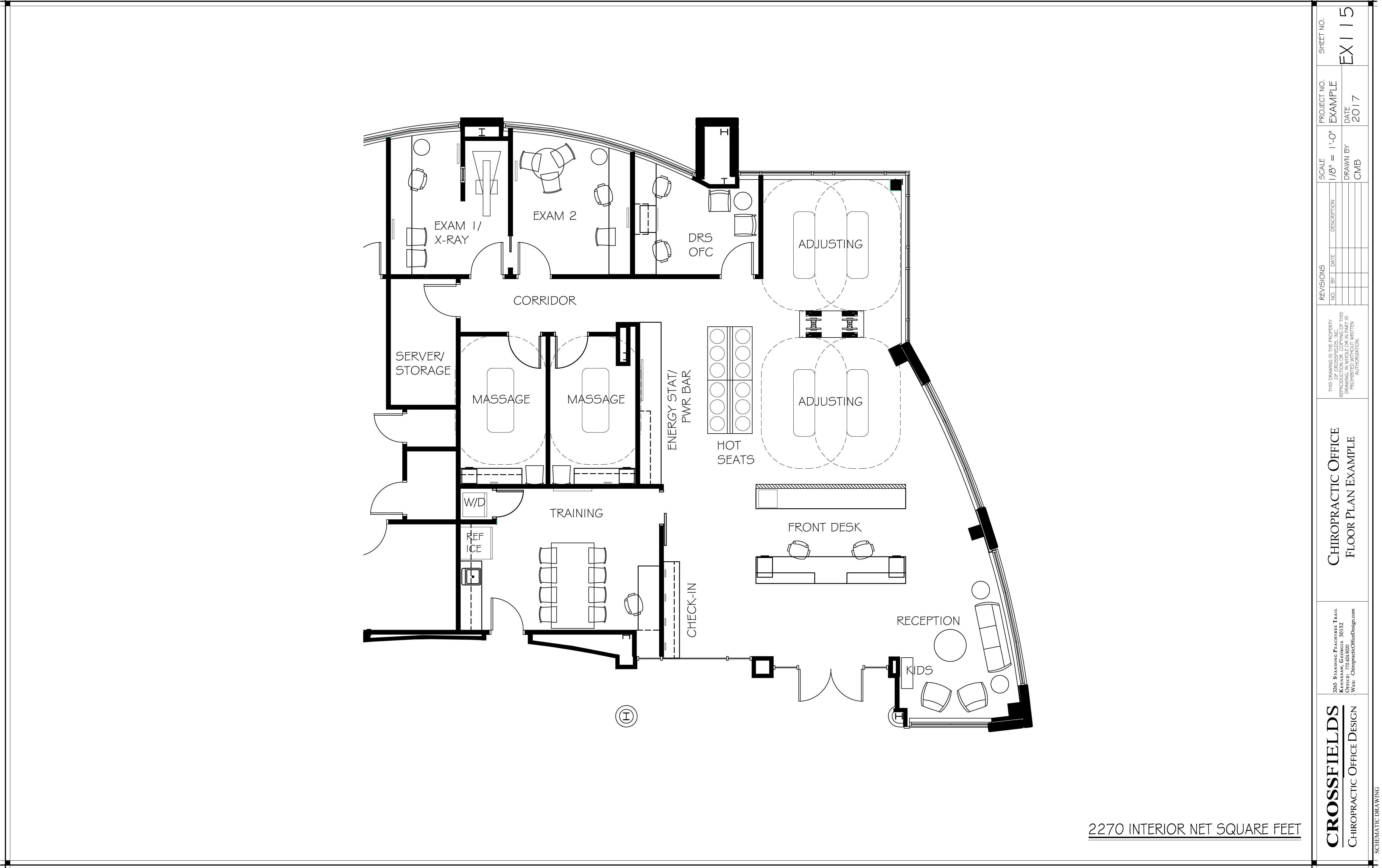 Example Of Chiropractic Office Floor Plan With Massage Combined Xray Exam  Open Adjusting Hot Seats