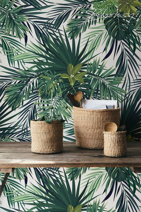 removable wallpaper tropical leaves wallpaper wall mural home decor pinterest bl tter. Black Bedroom Furniture Sets. Home Design Ideas
