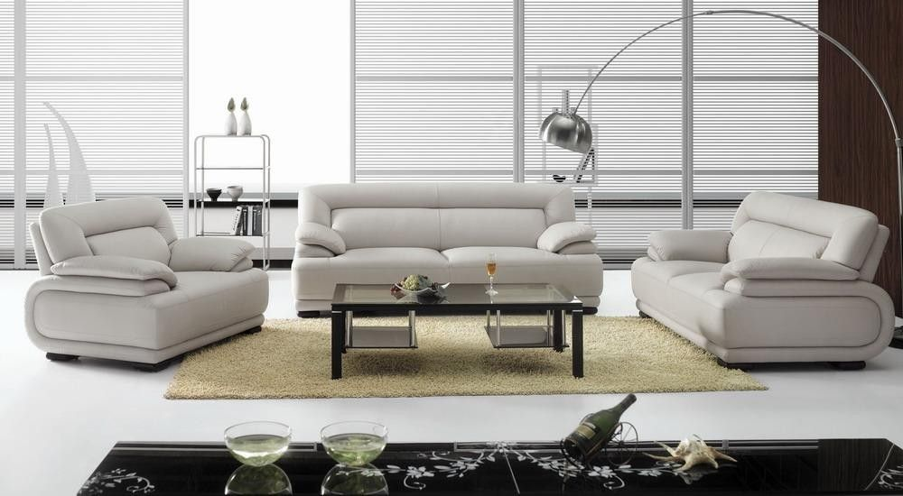 Modern Leather Sofa Set Furniture In White 2616 Features Design
