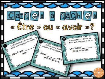 Cartes A Taches Sur Les Verbes Etre Et Avoir Les Eleves Doivent Choisir Le Bon Verbe Puis Le Conjuguer Teaching French School Activities French Activities