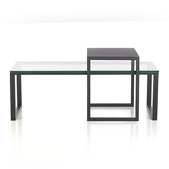 Avenue Black Slide Table In Coffee Tables Side Tables Crate And Barrel Office Space