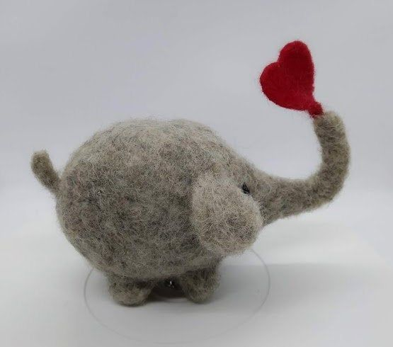 Big Elephant with lovely Heart Detailed Needle felted