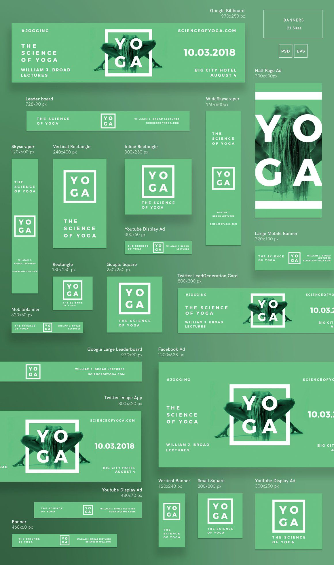 Banners Pack Science Of Yoga Banner Ads Design Web Banner Design Banner Design