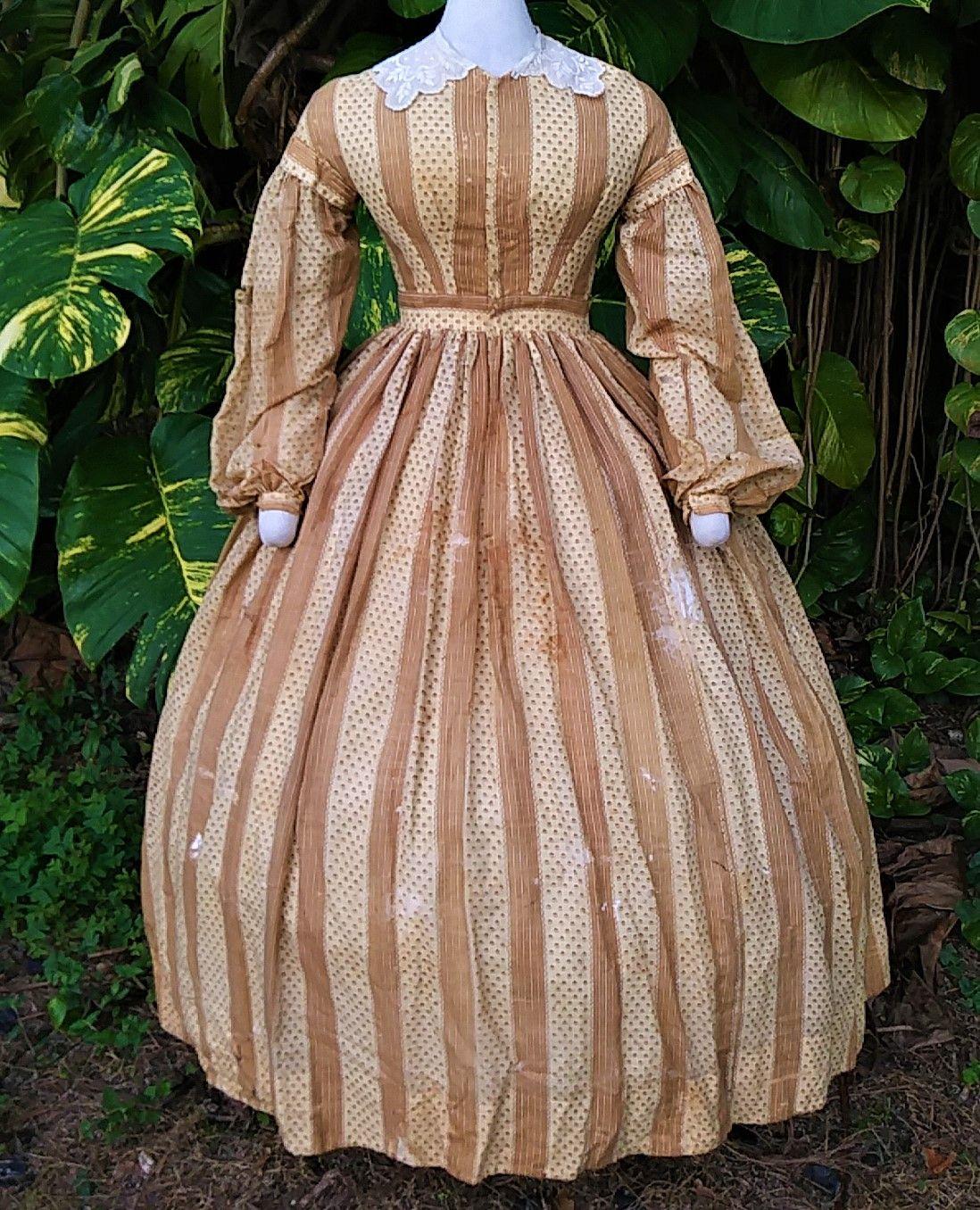 1860s Sheer Wool Day Dress Victorian Dress Civil War Fashion Dresses [ 1356 x 1098 Pixel ]