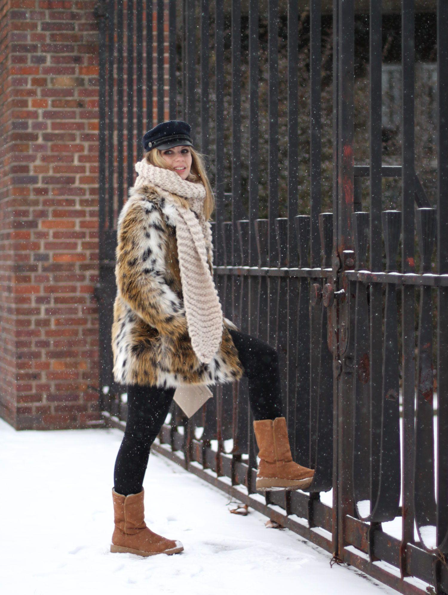 Leo Mantel Aus Fake Fur Von Topshop Amie Ugg Boots Slim