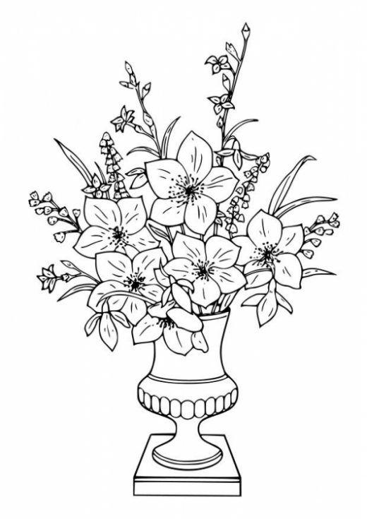 Imagenes De Ramos De Flores Para Colorear Imagui Paginas Para Colorear De Flores Florero Dibujo Dibujos De Flores