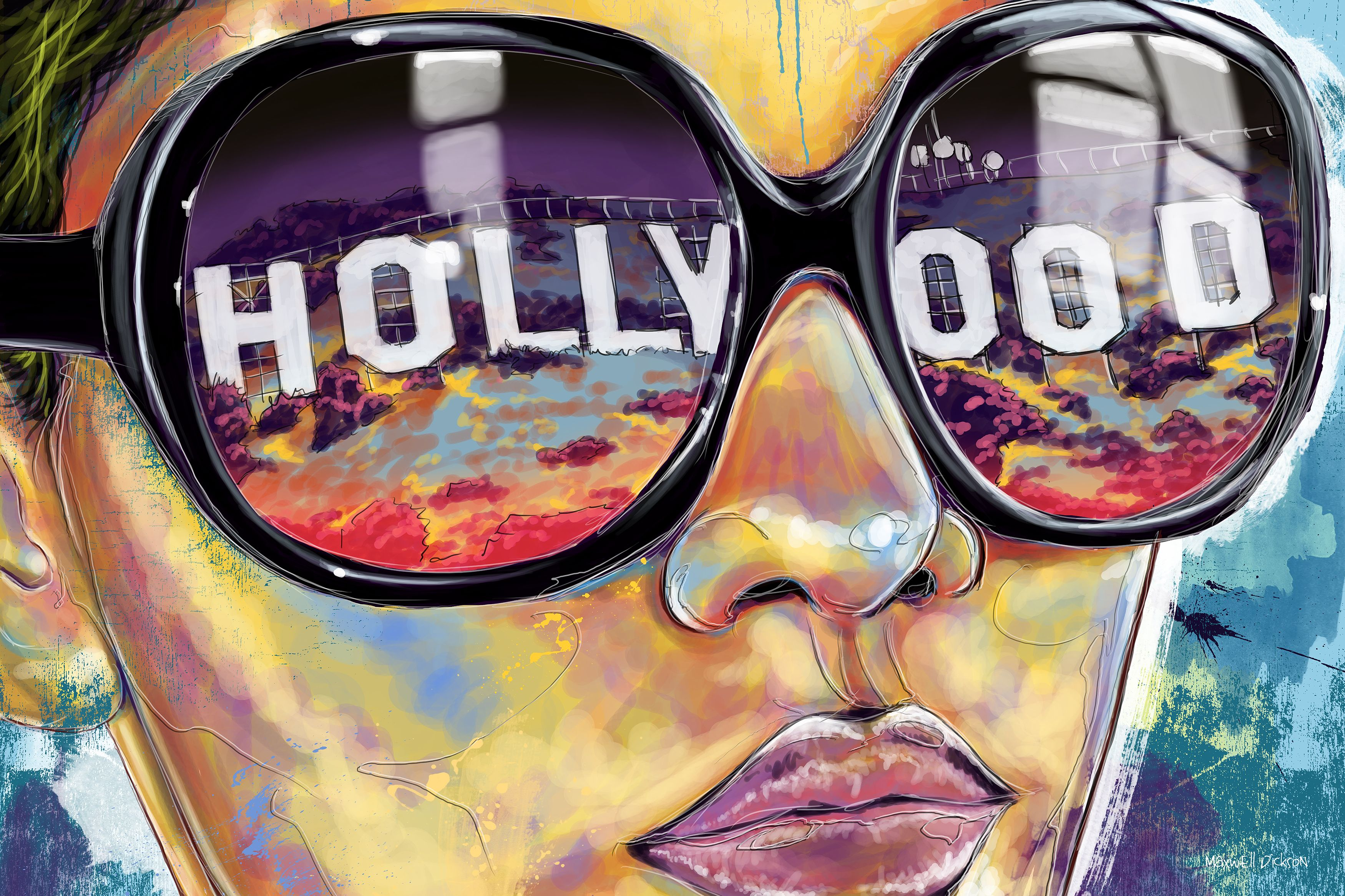 Maxwell Dickson Land Of Dreams Hollywood California Canvas Art Modern Wall Art Canvas Pop Art Canvas Wall Canvas