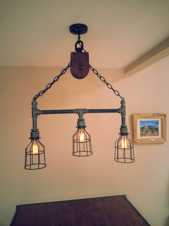 Industrial pipe pulley light light it up pinterest for Diy pipe lamp