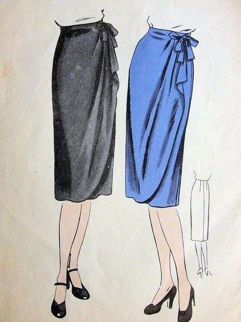 For bridesmaids: 1940s SLIM WRAP AROUND SKIRT PATTERN CASCADE ...