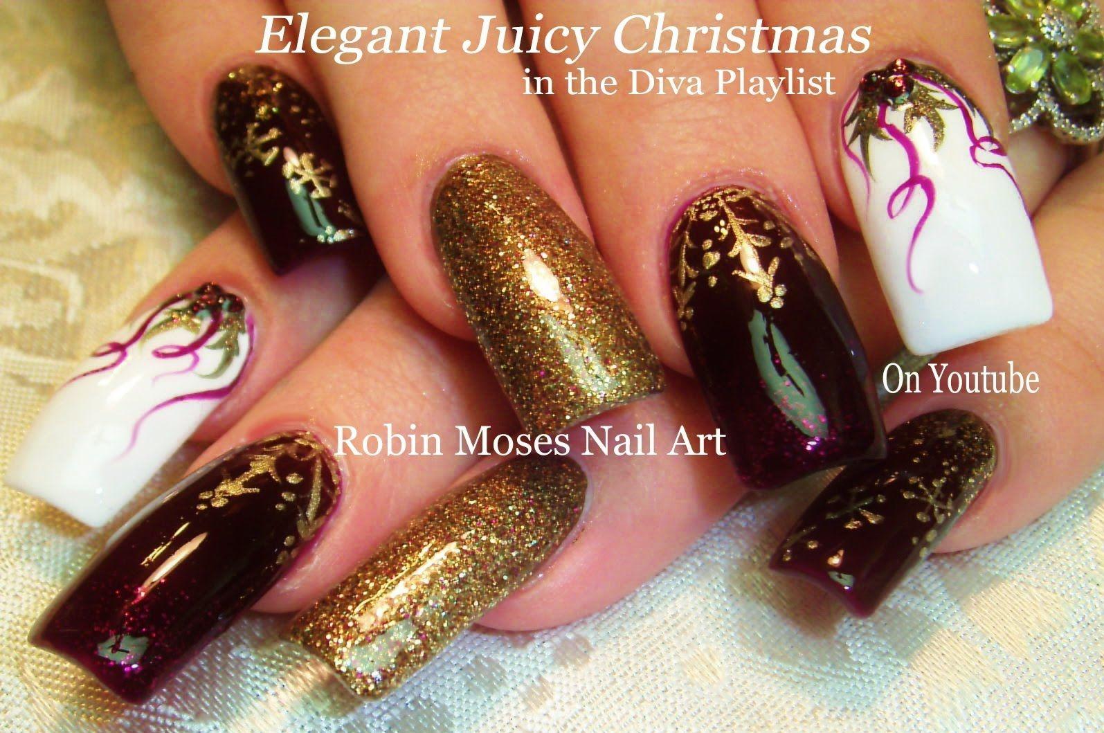 Nail Art Tutorial   DIY Christmas Nail Art   Xmas BLING Diva Nail ...