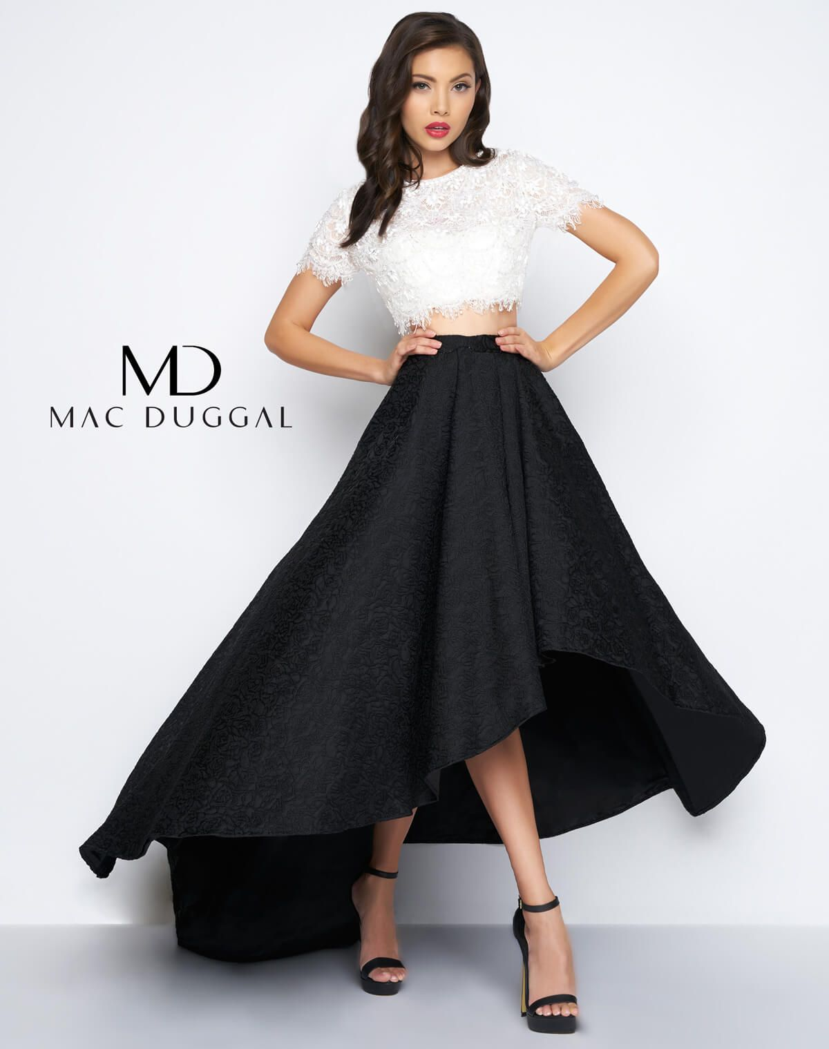 Black And White Two Piece Formal Gown With Short Sleeve Lace