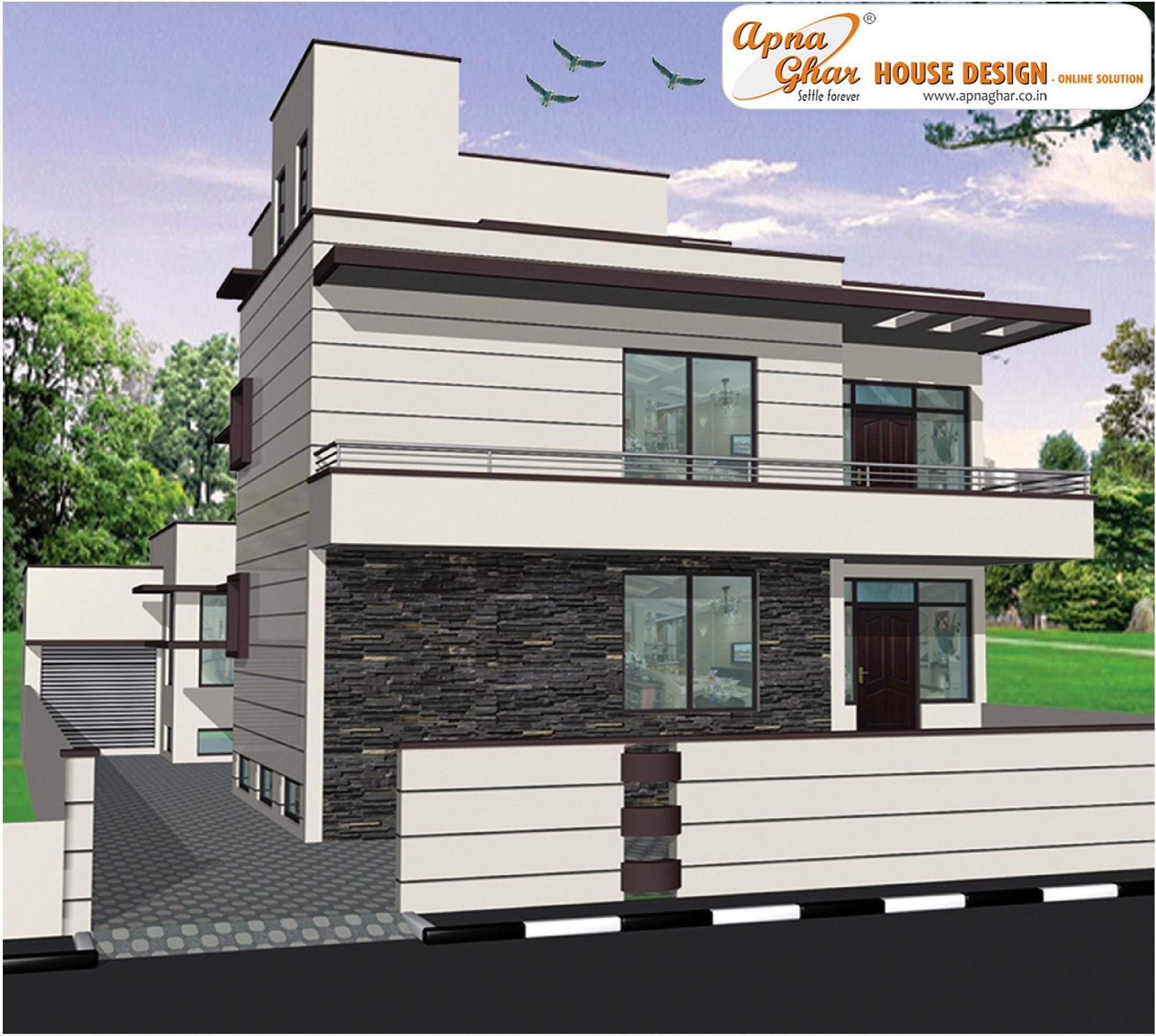 Triplex house design view plan http apnaghar co in