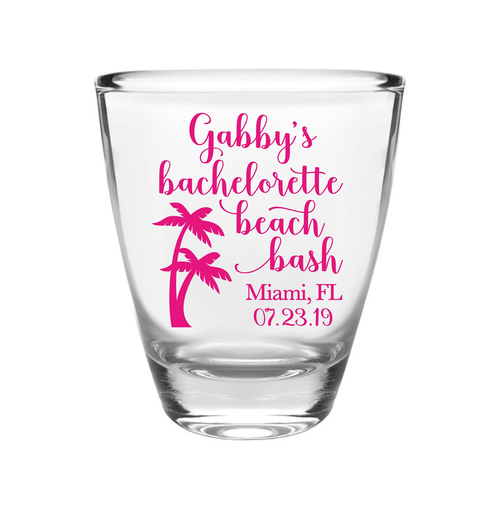 Personalized bridesmaids shot glasses beach bachelorette