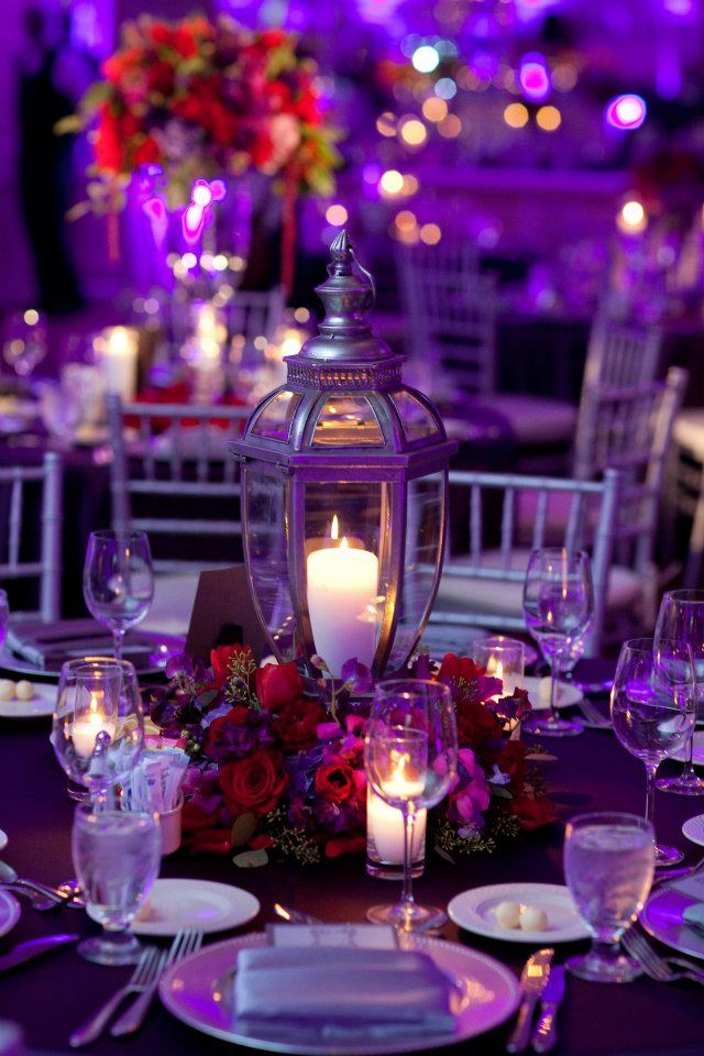 Red Purple Silver Lantern Wedding Centerpiece Colonial Country