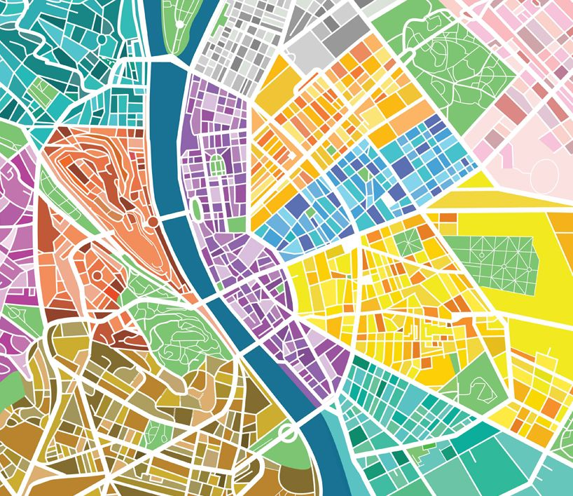 Information is printed directly onto the surface, with each city district separated into different colors.