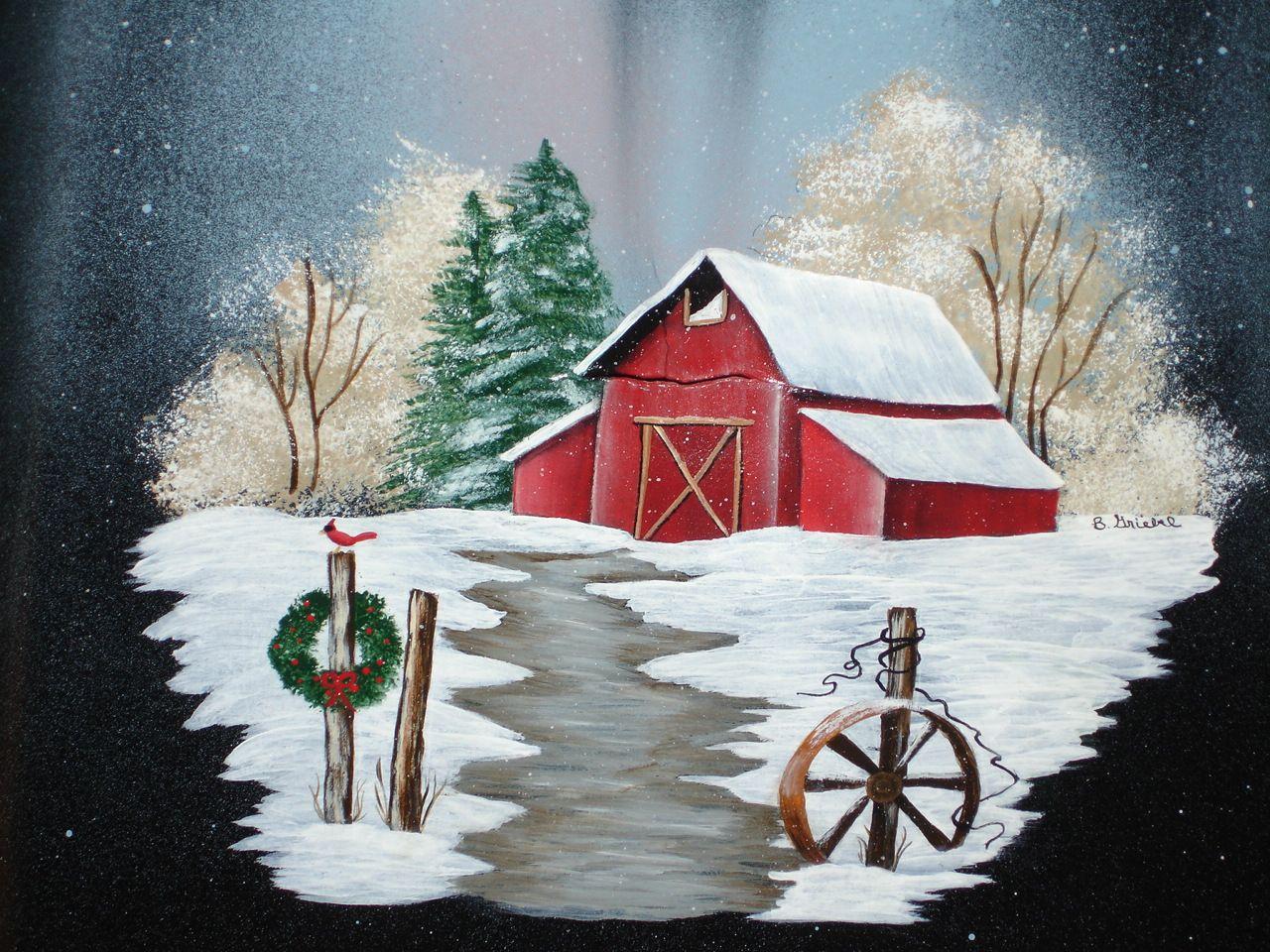 Winter Barn On Circular Saw Blade Did This On Wood Sheryl Barn Painting Window Painting Winter Painting