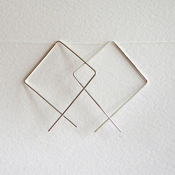 Geometric Sterling Silver Earrings  Chic Squares by tiptoptrinkets, $24.00