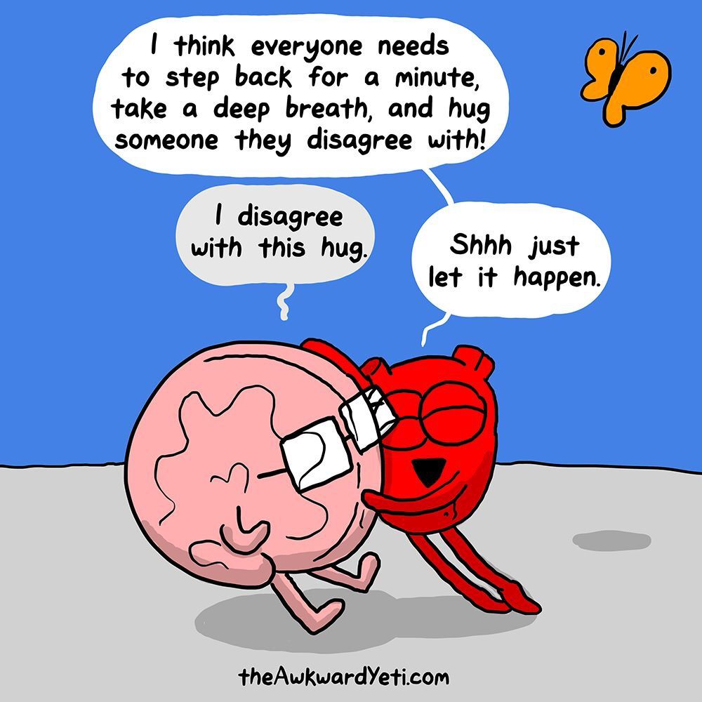 Image result for the awkward yeti hugging