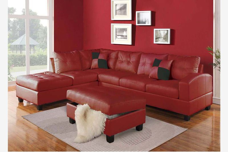 Acme Modern Tufted Red Leather Sectional Sofa Couch Chaise Pilliows