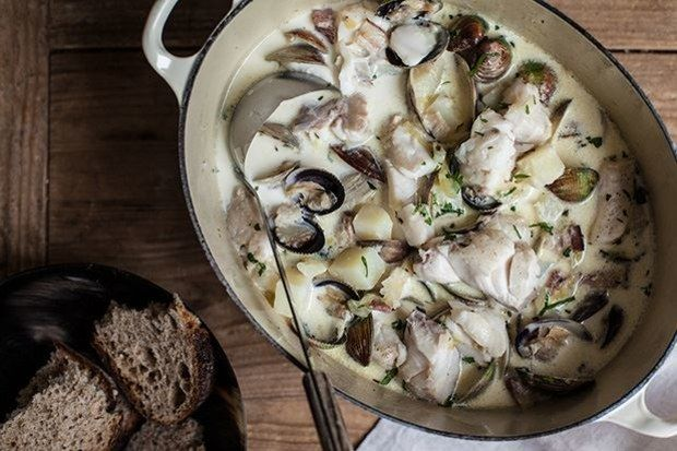 Seafood Chowder with Bacon and Thyme