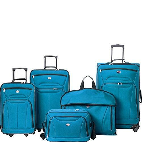 American Tourister Wakefield 5 Piece Luggage Set Ebags Exclusive Teal Blue Luggage Sets American Tourister Luggage