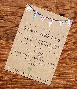Rustic vintage bunting wedding invitation Birthday vintage garden