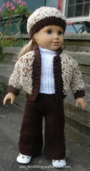 ABC Knitting Patterns - 18 inch Doll Sporty Snowsuit (Jacket, Pants ...